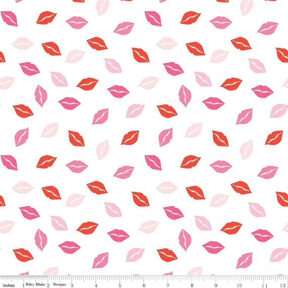 Sending Love - 1/2 yard Increments, Cut Continuously- (C10084 White Kisses) by My Mind's Eye for  Riley Blake Designs