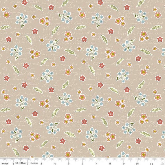 Primrose Hill - 1/2 Yard Increments, Cut Continuously Wheat Field Notes - C11062  by Melanie Collette for Riley Blake Designs