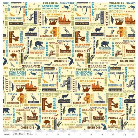 National Parks- 1/2 Yard Increments, Cut Continuously- C8784 Cream Words- by Anderson Design Group for Riley Blake Designs