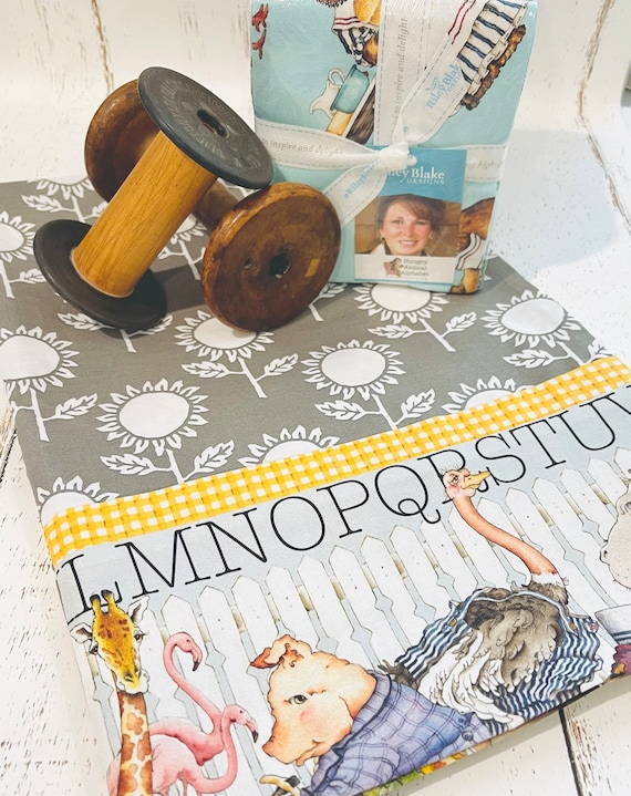 Pillow Case Kit- Hungry Animal Alphabet Fabric by J Wecker Frisch for Riley Blake Designs- Free Pattern
