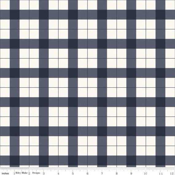 Gingham Foundry -1/2 Yard Increments, cut continuously - Navy Gingham - C11132  by My Minds Eye for Riley Blake Designs