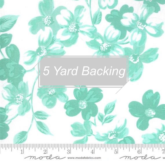 5 Yard Backing- Sunday Stroll- 55220-24 Full Bloom White Aqua by Bonnie and Camille for Moda