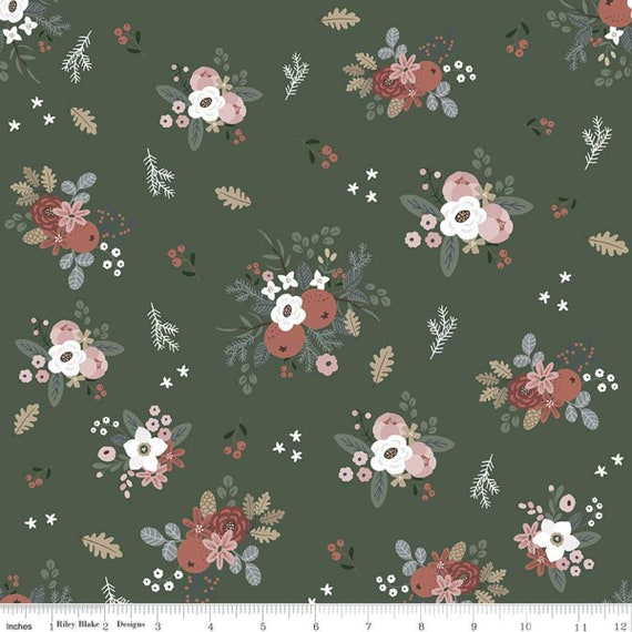 Warm Wishes -1/2 Yard Increments, Cut Continuously - (C10781 Forest Floral) by Simple Simon and Company