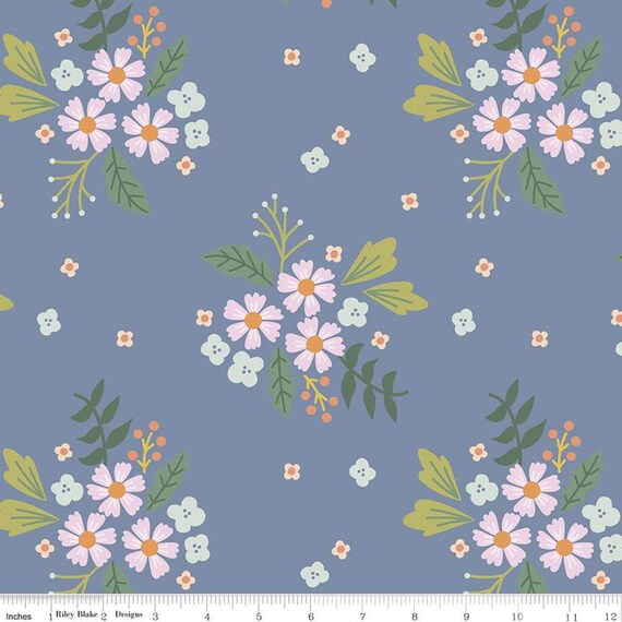 Community- 1/2 Yard Increments, Cut Continuously (C11102 Blue Floral) by Citrus and Mint Designs for Riley Blake Designs
