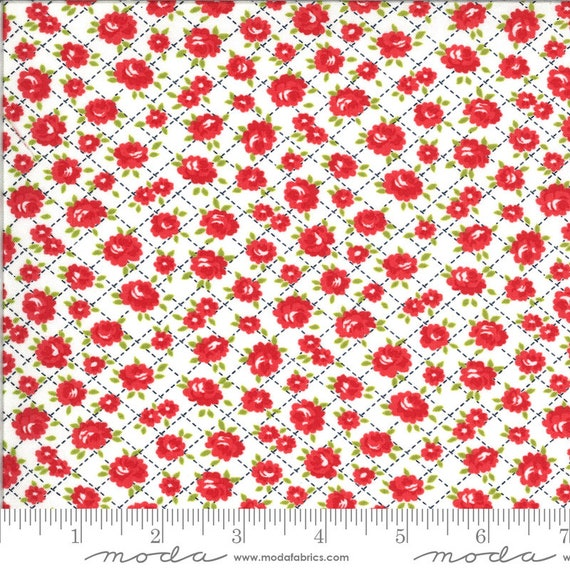 Shine On- 1/2 Yard Increments, Cut Continuously (55214-20 White Roses) by Bonnie and Camille for Moda