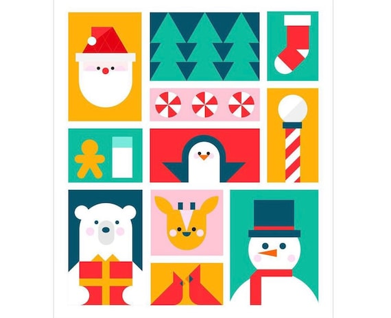 """Santa's Helpers Quilt Kit (NO PATTERN)- Toy Box- Block of the Month by Corinne Sovey- Finished Quilt Size 60"""" x 69.5"""""""