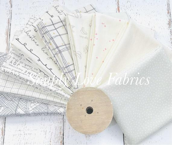 Fat Quarter Bundle (9 Fabrics) Cream Mixed Low Volume Fabrics with Cream Background