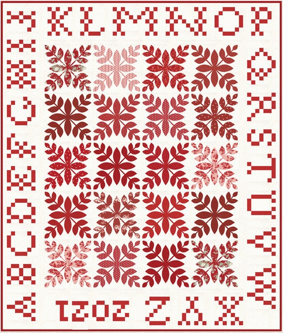 """A is for Apple Boxed Quilt Kit with Pattern (Finished Size 68"""" x 80"""") Roselyn by Minick and Simpson"""