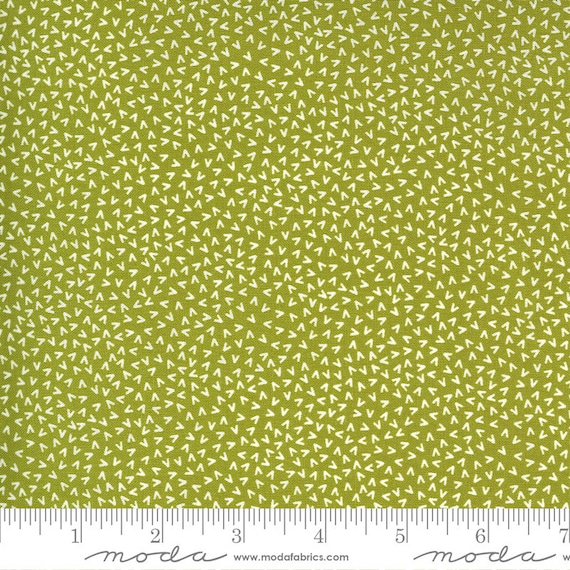 Spring Chicken- 1/2 Yard Increments, Cut Continuously (55525 13 Tracks Green)  by Sweetwater for Moda