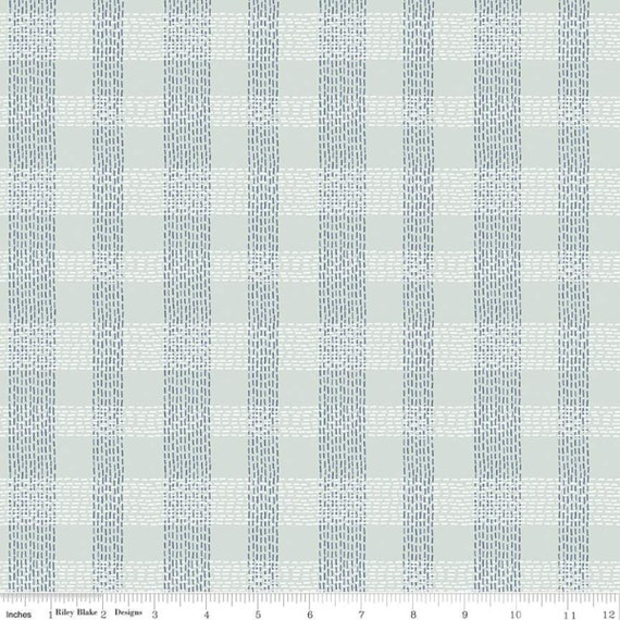 Community- 1/2 Yard Increments, Cut Continuously (C11106 Mint Plaid) by Citrus and Mint Designs for Riley Blake Designs