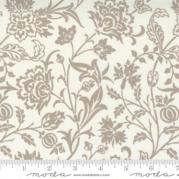 Pumpkins and Blossoms- 1/2 Yard Increments, Cut Continuously  (20420 26 Vine Damask - Vanilla Pebble) by Fig Tree & Co. for Moda