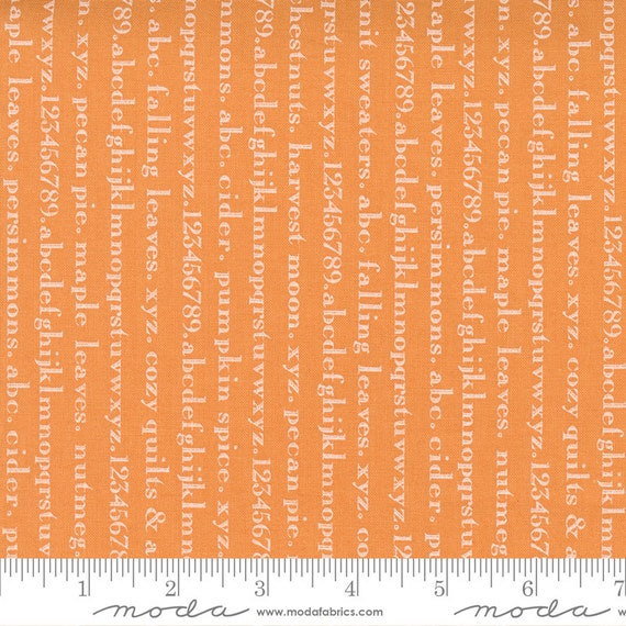 Pumpkins and Blossoms- 1/2 Yard Increments, Cut Continuously  (20425 12 Text Alphabet - Pumpkin) by Fig Tree & Co. for Moda