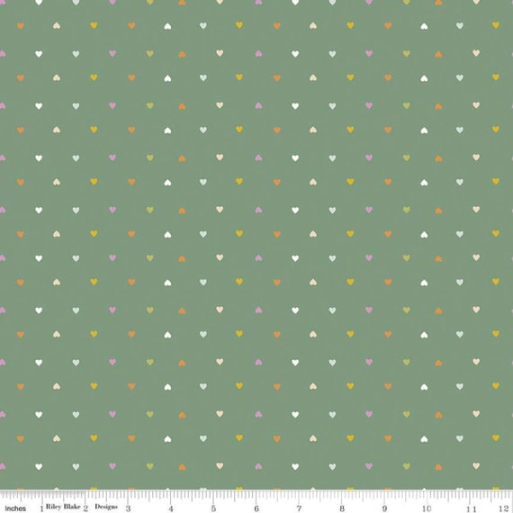 Community- 1/2 Yard Increments, Cut Continuously (C11107 Green Hearts) by Citrus and Mint Designs for Riley Blake Designs