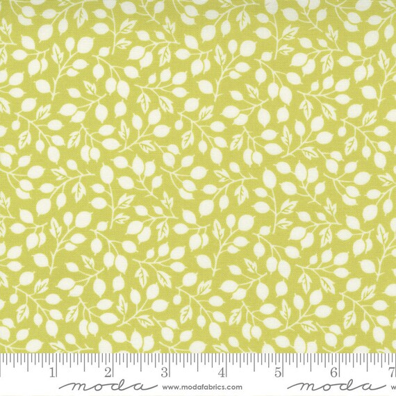 Pumpkins and Blossoms- 1/2 Yard Increments, Cut Continuously  (20421 14 Berry Vine Leaf - Sprout) by Fig Tree & Co. for Moda