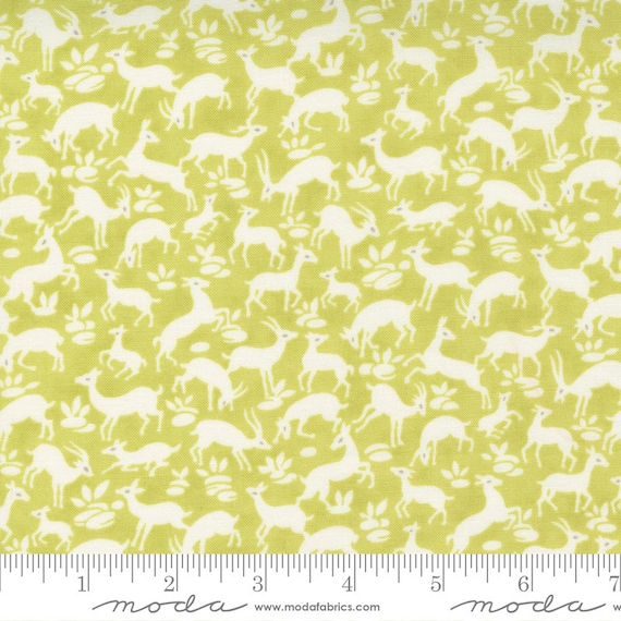 Pumpkins and Blossoms- 1/2 Yard Increments, Cut Continuously  (20422 14 Deer Forest - Sprout) by Fig Tree & Co. for Moda