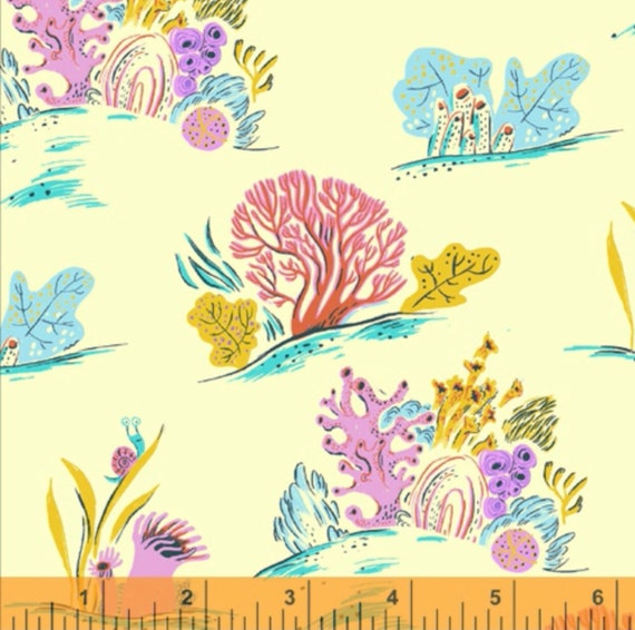 Malibu -1/2 Yard Increments, Cut Continuously (52147-10 Blue Coral)- Heather Ross for Windham Fabrics