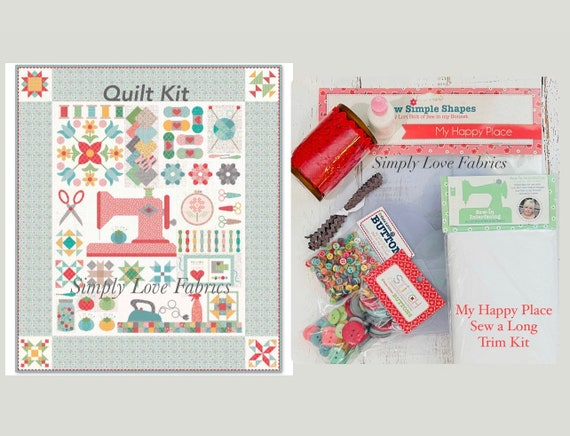 """My Happy Place Sew Along Quilt Kit -(Read Description for Options)  Finished Size  76""""x 88""""  by Lori Holt of Bee in My Bonnet for RBD"""