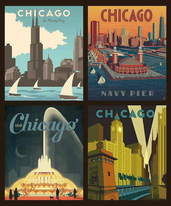 Destinations Chicago Pillow Panel- (P10161) by Anderson Design Group for Riley Blake Designs