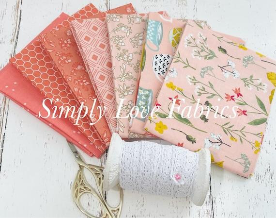 Tea with Bea- Fat Quarter Bundle (7 Fabrics Coral) by Katherine Lenius for Riley Blake Designs