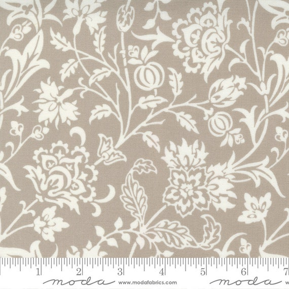 Pumpkins and Blossoms- 1/2 Yard Increments, Cut Continuously  (20420 16 Vine Damask - Pebble) by Fig Tree & Co. for Moda