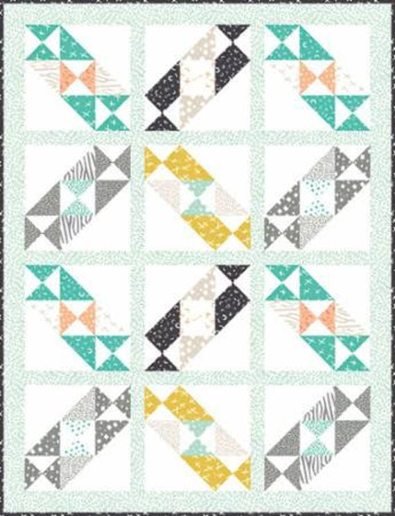 """Meandering Meadow Quilt Pattern by It's Sew Emmafor Moda- Finished Size 55.5"""" x 72.5"""""""