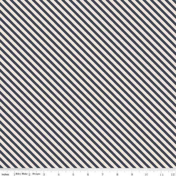 Idyllic- 1/2 Yard Increments, Cut Continuously (C9885 Navy Stripes) by Minki Kim for Riley Blake Designs