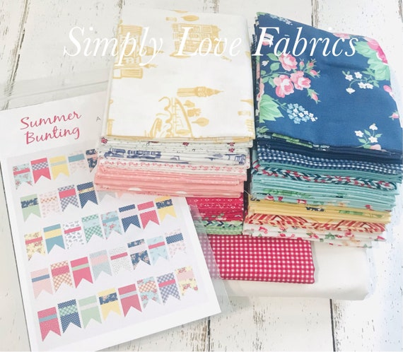 """Summer Bunting Quilt Kit With Pattern by Amy Smart - Finished Quilt Size 66"""" x 84"""""""
