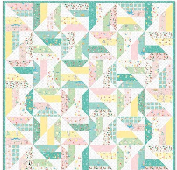 """Windmills Quilt Kit with Pattern by Gerri Robinson of Planted Seed Designs and Fabric used Bunnies and Blossoms- Finished Size 48"""" x 48"""""""