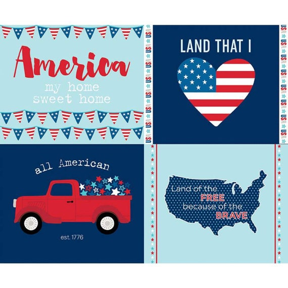 """Fireworks and Freedom- C9306 Aqua PANEL- 36"""" x 43.5"""" - By Bella Blvd. for Riley Blake Designs"""