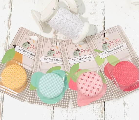 Lori Holt Tape Measure- 4 Color Options- Covered in Prim Fabric- Retractable