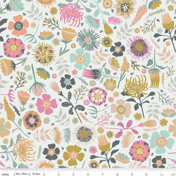 Meadow Lane- 1/2 yard Increments, Cut Continuously- (C10120 Off White Main) by Sara Davies for Riley Blake Designs