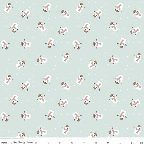 Warm Wishes -1/2 Yard Increments, Cut Continuously - (C10786 Sky Snowmen) by Simple Simon and Company