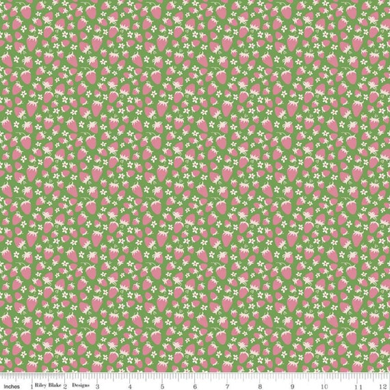 Summer Picnic - 1/2 Yard Increments, Cut Continuously - C10754 Green Strawberries by Melissa Mortenson for Riley Blake Designs