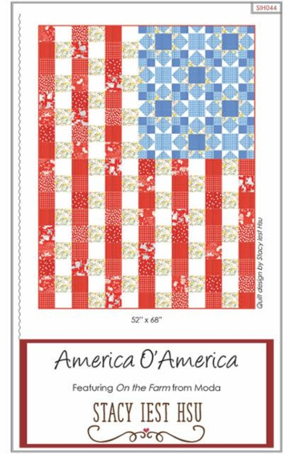 """America O' America PAPER Pattern- SIH044 Finished Size 52"""" x 68""""- using On the Farm- by Stacy Iset Hsu"""
