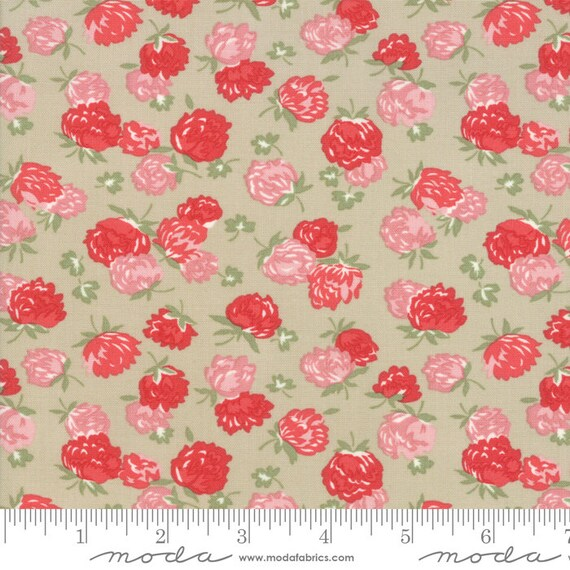 At Home- 1/2 Yard Increments, Cut Continuously- 55203-14 Linen Blossoms- Bonnie and Camille for Moda