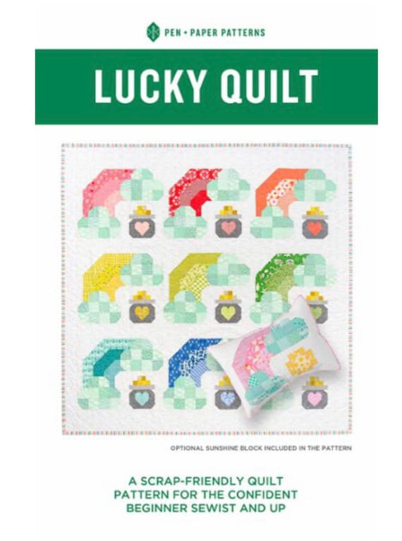 """Lucky Quilt Paper Quilt Pattern by Pen and Paper Patterns- Finished Quilt Size 67.5"""" Square"""
