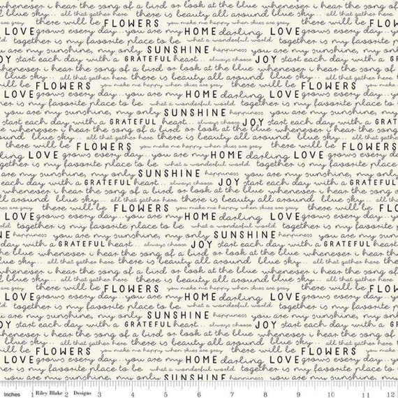 Gingham Gardens- 1/2 Yard Increments, Cut Continuously - C10354 Cream Text by My Minds Eye for Riley Blake Designs