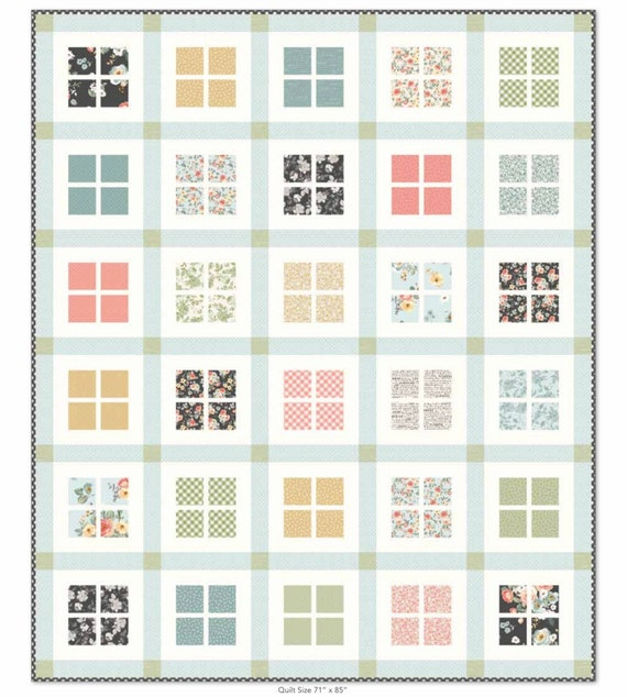 """Gingham Windows Paper Quilt Pattern by Beverly McCullough for Riley Blake Designs- Finished Quilt 61"""" x 73"""" -Shown in Gingham Gardens Fabric"""
