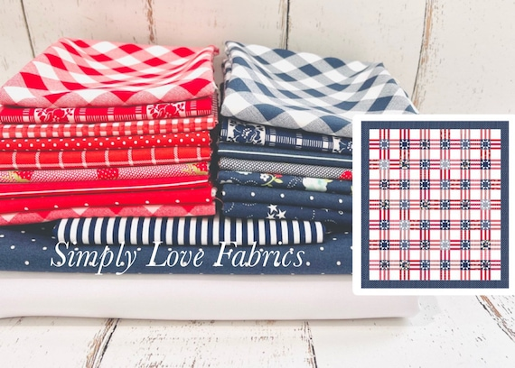 """Stars and Stripes 2 Quilt Kit NO Pattern by Thimble Blossoms for Moda- 73"""" x 83"""" Finished Quilt Size"""