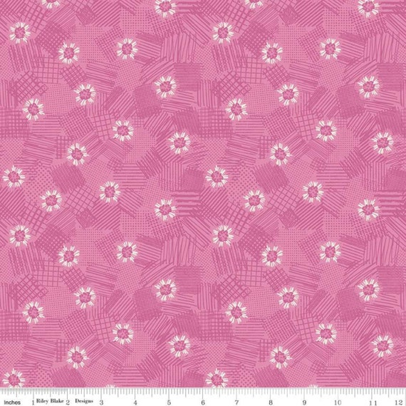 Meadow Lane- 1/2 yard Increments, Cut Continuously- (C10123 Pink Scribbled Floral) by Sara Davies for Riley Blake Designs