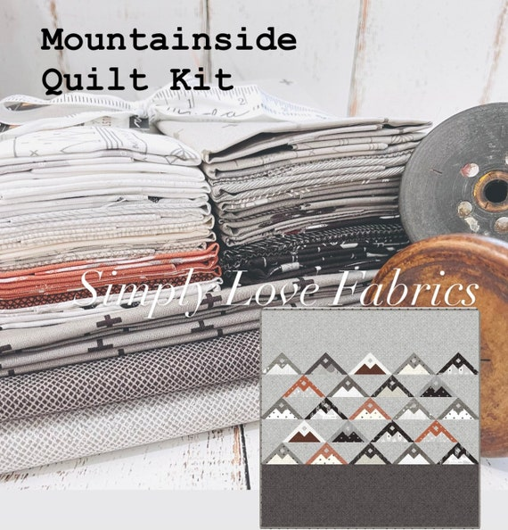 """Mountain Side Quilt Kit with Pattern- Finished Size 68"""" x 72"""" Smoke and Rust by Lella Boutique for Moda"""