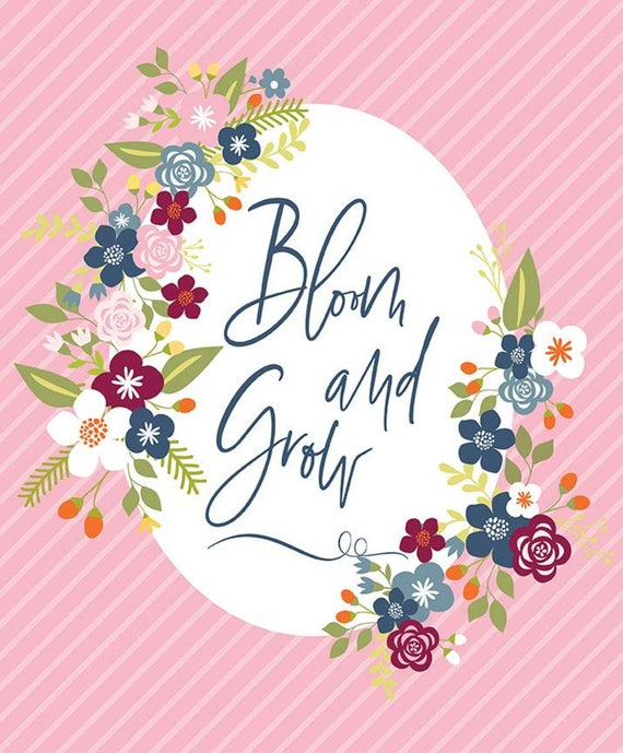 """Bloom and Grow- Panel (36"""" x 44"""" Pink) by Simple Simon and Co. for Riley Blake Designs- P10116"""