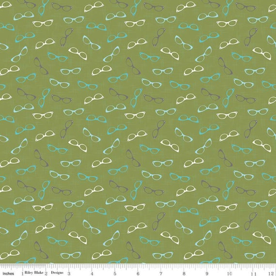 Stardust- 1/2 Yard Increments, Cut Continuously (C10504 Glam Glasses Olive) Beverly McCullough for Riley Blake Designs