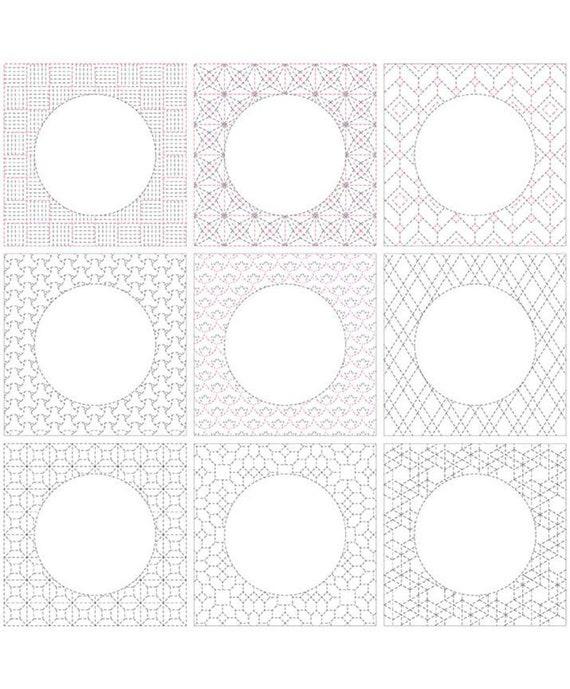 "Sashiko Linen Panel -36"" x 43.5"" -LN10025"