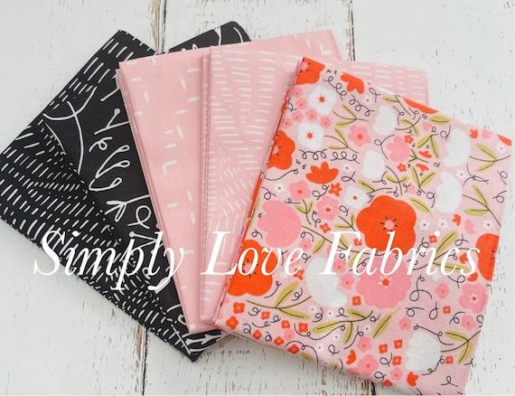 Words To Live By- Fat Quarter Bundle- 5 Black/ Cameo Fabrics  -by Gingiber for Moda