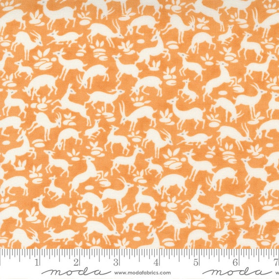 Pumpkins and Blossoms- 1/2 Yard Increments, Cut Continuously  (20422 12 Deer Forest - Pumpkin) by Fig Tree & Co. for Moda