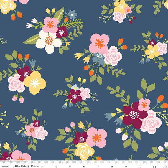 5 Yard Backing- Bloom and Grow (C10110 Navy Main) by Simple Simon and Co. for Riley Blake Designs
