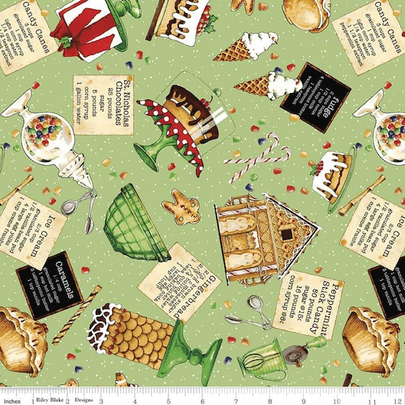 Snow Sweet- 1/2 Yard Increments Cut Continuously- C9667 Green Sweets Toss - J Wecker Frisch for Riley Blake Designs
