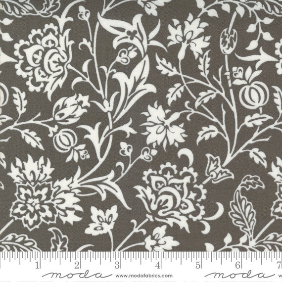 Pumpkins and Blossoms- 1/2 Yard Increments, Cut Continuously  (20420 17 Vine Damask - Charcoal) by Fig Tree & Co. for Moda