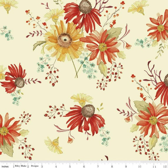 Adel in Autumn- 1/2 Yard Increments, Cut Continuously (C10820 Cream Main) by Sandy Gervais for Riley Blake Designs